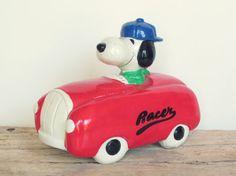 Vintage Snoopy Racer Piggy Bank by HeatherVintage88 on Etsy, $45.00