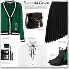 Emerald City: Pops of Green by the-geek-goddess on Polyvore featuring мода, P.A.R.O.S.H., George, Balmain, Alexander Wang and emeraldgreen
