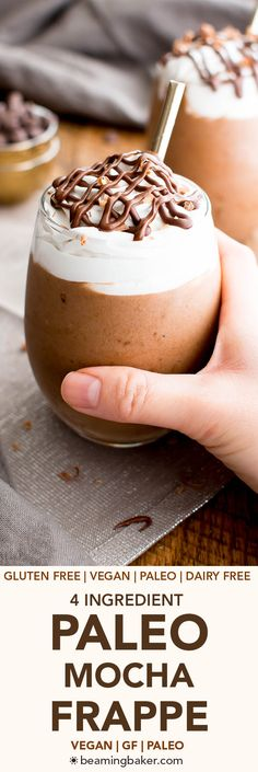 Paleo Mocha Frappe (V, GF, DF): a 4 ingredient recipe for deliciously thick, frosty mocha frappes made with simple ingredients.