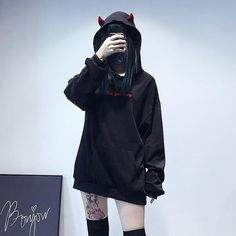 Devil Black Hoodie - Sarah's Home Edgy Outfits, Grunge Outfits, Cool Outfits, Fashion Outfits, Fashion Top, Kawaii Clothes, Black Women Fashion, Womens Fashion, Edgy Style