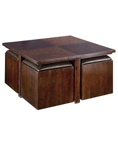 Idea for living room coffee table with stow away stools for Square coffee table with seating underneath