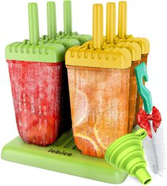 Popsicle Molds Set - BPA Free - 6 Ice Pop Makers   Silicone Funnel   Cleaning Brush   Ice Cream Recipes E-book - by Lebice *** You can find more details by visiting the image link.
