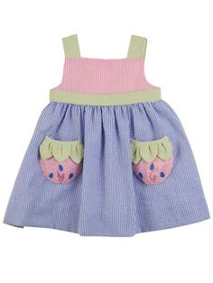 Florence Eiseman Strawberry Creek Seersucker Dress Baby & Toddler Girls NEW Blue seersucker dress with pink and green seersucker accent fabric. Strawberry pockets, adjustable shoulder straps by buttons in back. Fabric self-tie at empire waist. Baby Girl Dress Patterns, Little Girl Dresses, Baby Frocks Designs, Seersucker Dress, Kids Frocks, Baby Sewing, Kids Wear, Baby Knitting, Doll Clothes
