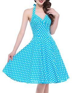 Women's Halter 1950's Vintage Style Short Cocktail Party Dress (S, BP013-2),Light Blue >>> (This is Amazon Affiliate Link) Check out the image by visiting the link.