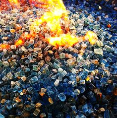 Blue glass fire pit Photo:Dbeckman Glass Fire Pit, Backyard Ideas, Outdoors, Spaces, Ring, Building, Blue, Painting, Rings