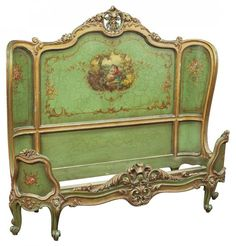 A Venetian Green Lacquered Bed