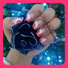 Nail Art / Decoracion de Uñas / Unghie #nails #uñas #unghie #pazznokcie #red #rojo #rosso #white #blanco #bianco