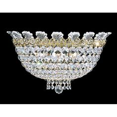 Roman Empire Polished Gold Three-Light Clear Spectra Crystal Wall Sconce, 15W x 8.5H x 15D