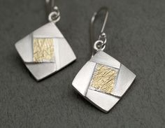 DM672  text-ure facetted square earrings - stg silver, 22ct gold   $345