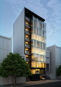 46 Magnificient Office Architecture Building Ideas For Inspiration Magnificient Office Architecture Building Ideas For Inspiration 29 Modern Office Building, Office Building Architecture, Modern Architecture Design, Building Exterior, Building Facade, Commercial Architecture, Facade Design, Facade Architecture, Modern Buildings