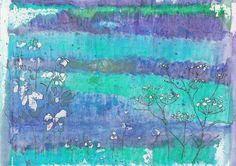 Day 30 A bit more work on yesterday's beginning. Pigment pen, chalk pastel on Inktense background.