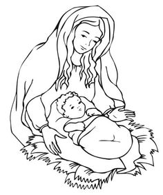Mary Looking Over Jesus Coloring page