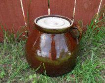 HUGE 1900's Antique Stoneware Pickle Crock - 1-3/4 gal. Primitive Earthenware Crock - Rare Old Pickling Jar - Sauerkraut Crock