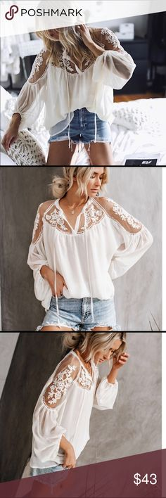3da24afb43 Boho flowy ivory blouse Super breezy and classy. Perfect for summer. Boho top  for