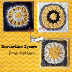 """Borderline Square, free 6"""" (15 cm crochet square pattern by Raising Robertson Crochet. This square is part of the Mystery Lapghan CAL 2015."""
