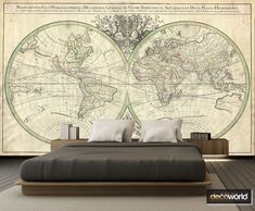 Classic style world map mural. World Map Mural, Classic Style, Maps, Basement, Tapestry, Wallpaper, Home Decor, Hanging Tapestry, Tapestries