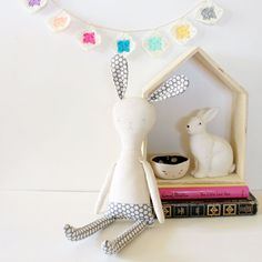 grey bunny .. bunny doll rabbit doll rag by HappyLittleHeartToys
