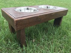"Reclaimed rustic pallet furniture dog bowl stand english chestnut finish. 22""l X 12""w X 11""t by Kustomwood on Etsy"