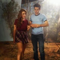 Holland Roden and Dylan O'Brien on the set of Teen Wolf, season 3 B