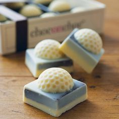 t's tee-time with our miniature chocolate golf balls!  Handmade from Belgian milk and white chocolate.