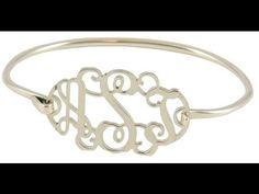 Video: Beautiful Sterling Silver Bangle Style Monogram Bracelet