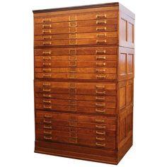 7d6851379c6c 20 Drawer Tiger Oak Map Cabinet or Flat File with Original Brass Hardware