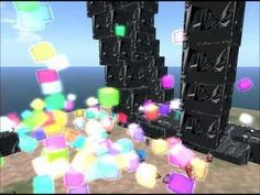 Secondlife 2012 HD Griefer rezzing funky Color Cubes