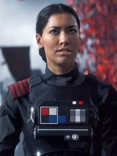 Commander Iden Versio, leader of Inferno Squadon and protagonist of Star Wars Battlefront.  Voiced by Janina Gavankar.  Largest image of her I've been able to find so far.