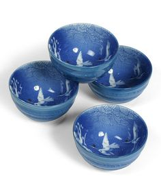 Another great find on #zulily! Blue Crane Bowl - Set of Four by Miya Company #zulilyfinds