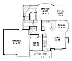 1150 sq ft- First Floor Plan of Traditional   House Plan 62607