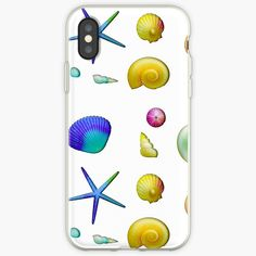 'Colorful Sea Shells ' iPhone Case by AElenaS Semi Transparent, Iphone Case Covers, Cover Design, Sea Shells, Ink, Prints, Color, Seashells, Colour
