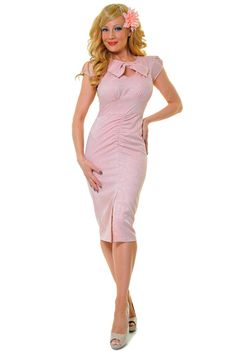 SALE! Stop Staring! 1940s Style Pretty In Pink Wiggle Dress - Unique Vintage - Prom dresses, retro dresses, retro swimsuits.