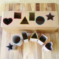 🔺💛Shape Matching Activity🔳🔵 I am still working on downsizing our recycled materials storage bin. Today, I chose toilet paper rolls and a… Preschool Learning Activities, Infant Activities, Kids Learning, Activities For Kids, Crafts For Kids, Shape Matching, Montessori Toys, Kids Playing, Shapes