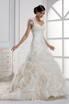 Charming Sweetheart One-shoulder Mermaid Chapel Wedding Gown
