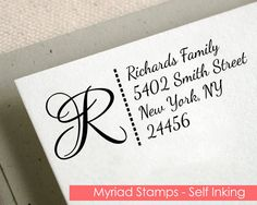 Self Inking Stamp - Custom Return Address Rubber Stamp - Initial - Black Self Ink - Personalized Family Stationery - Housewarming Gift