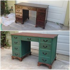 Sage & Cinnamon Interiors: Refinishing Vintage Desk - might work well with my desk with a lighter wood stain on top.