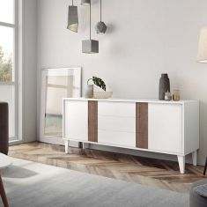Moritz, TV Sideboard With Drawers in White, Sand or Taupe, Oak or Walnut Detail Contemporary Tv Units, Contemporary Furniture, Modern Tv, High Tv Stand, Modern Sideboard, Scandinavian Furniture, Italian Furniture, Cool Chairs, Online Furniture