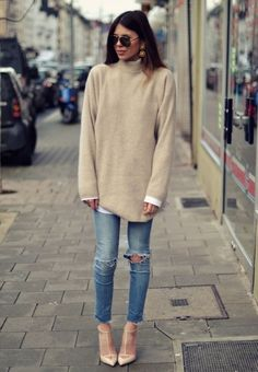 jeans   oversized sweater