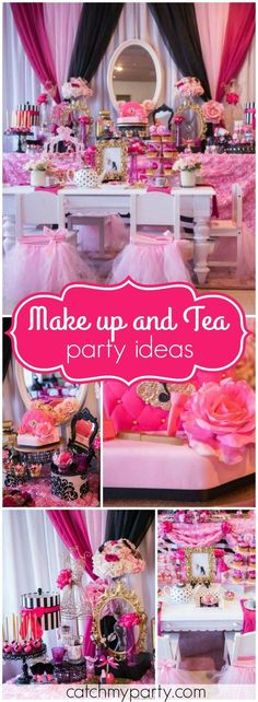 You have to see this makeup boutique birthday with a tea party! See more party ideas at http://Catchmyparty.com!