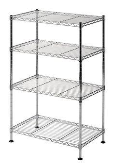Welded Wire Shelving Storage Rack 4 Tier Organizer Kitchen Shelving Chrome NEW #Sandusky