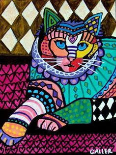 CAT FOLK ART Poster  Persian white Cat Art by HeatherGallerArt, $24.00