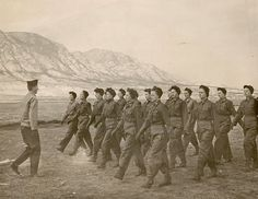 Army Nurses being trained how to march in ranks in one of the basic training centers stateside ~