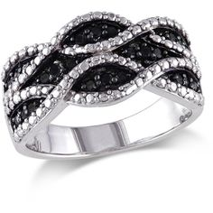 Black & White Diamonds 0.25ct Black Diamond Fashion Ring IV ($84) ❤ liked on Polyvore featuring jewelry, rings, silver, black jewelry, black ring, kohl jewelry, polish jewelry and black diamond ring