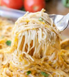 Easy Chicken Spaghetti recipe that is full of flavor and perfect for dinner. This recipe calls for chicken, spaghetti noodles, cream of chicken, salsa, sour cream and cheese making it the epitome of comfort food and a dinner recipe everyone will love! Huhn Spaghetti, Chicken Spaghetti Recipes, Chicken Thigh Recipes, Chicken Salad Recipes, Recipe Chicken, Chicken Spaghetti Casserole, Lemon Chicken, Chicken Soup, Recipes With Spaghetti Noodles