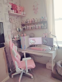 Uploading some cute setups I find on google! (2) Cute Room Ideas, Cute Room Decor, Room Design Bedroom, Room Ideas Bedroom, Gaming Room Setup, Pc Setup, Gaming Rooms, Pink Games, Kawaii Bedroom
