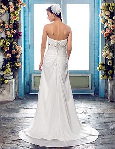 Wedding Dress A Line Sweep Brush Train Chiffon Sweetheart Strapless With Crystal Detailing and Criss Cross – GBP £ 65.69