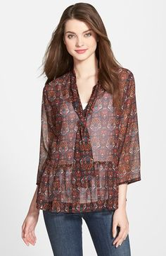 KUT from the Kloth 'Harmony' Sheer Scarf Neck Blouse poly black/multi szS 68.00