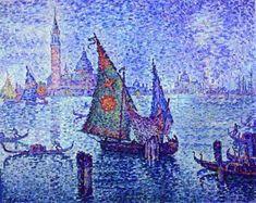 La Voile verte, huile sur toile de Paul Signac (1863-1935, France)