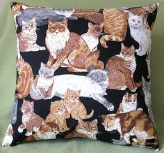 Cat, Cats and More Cats! Love My Kitty Pillow Cover!  Both sides feature cats on a black background.