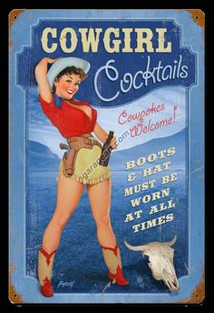 Love the old style cowgirl pin up girl signs!